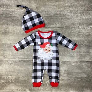 Unisex kids boutique santa romper and hat outfit